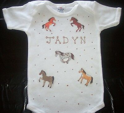 PERSONALZIED short sleeve Bodysuit  with HORSES