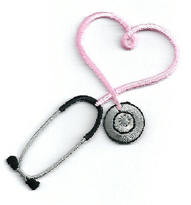 IRON ON PATCH/APPLIQUE Embroidered Pink Stethoscope ~ CRAFT PROJECTS