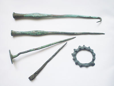 RARE ANCIENT Bronze Scythian PINS and AMULET circa 7 - 5 century BC