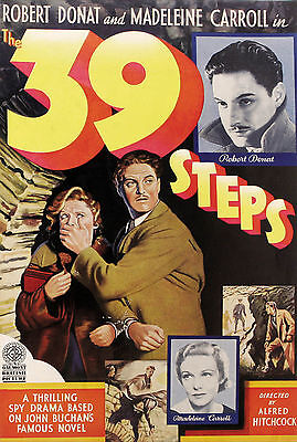 """39 STEPS""..Robert Donat in Alfred Hitchcocks Classic Movie Poster A1A2A3A4Sizes"