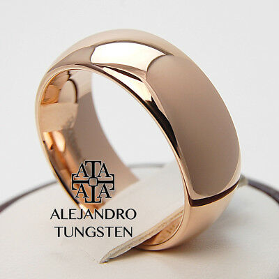 Tungsten Ring Wedding Bridal Band 8MM Radiant Rose Gold Design Size 6 to 14
