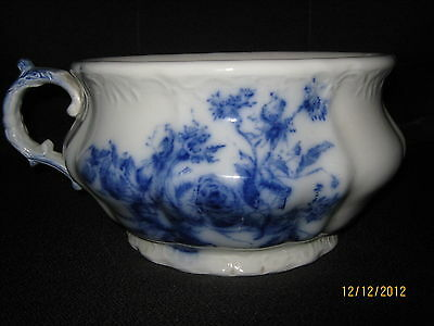VINTAGE FLOW BLUE-BEAUTIFUL GRINDLEY HARLEY PATTERN CHAMBER POT-VERY RARE-1890'S