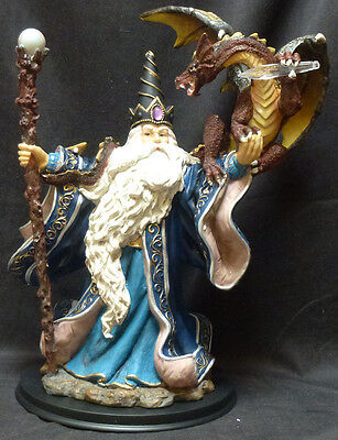 """WIZARD with DRAGON  Large  Staff & Dragon holding Crystal Statue Figurine  H16"""""""