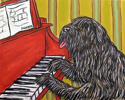 SCHNAUZER PIANO dog 11x14  artist prints animals impressionism ART