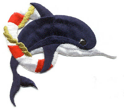 Dolphin - Bottlenose Dolphin - Life Preserver - Embroidered Iron On Patch