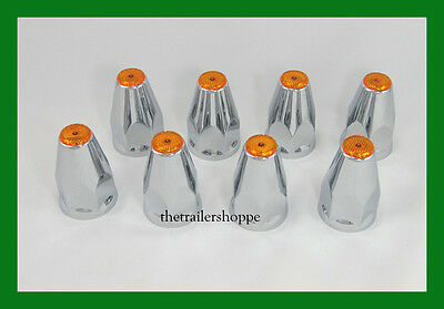 Chrome Lug Nut Covers with Flanges and Amber Reflectors 33mm ABS Plastic 8 PC.