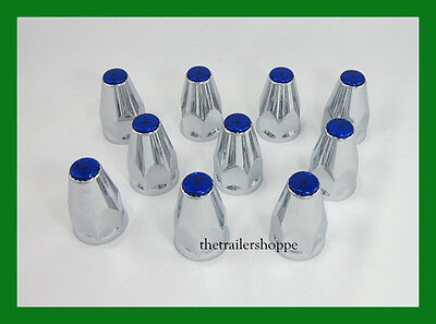Chrome Lug Nut Covers with Flanges and Blue Reflectors 33mm ABS Plastic 10 PC.