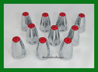 Chrome Lug Nut Covers with Flanges and Red Reflectors 33mm ABS Plastic 10 PC.