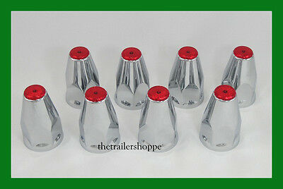 Chrome Lug Nut Covers with Flanges and Red Reflectors 33mm ABS Plastic 8 PC.