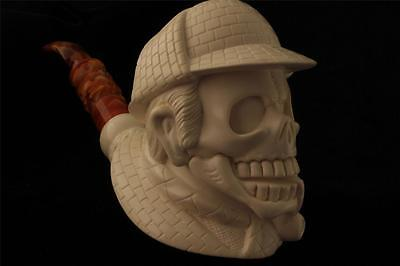 Sherlock Skull Pipe Hand Made by I. BAGLAN from Block Meerschaum in a case 4620