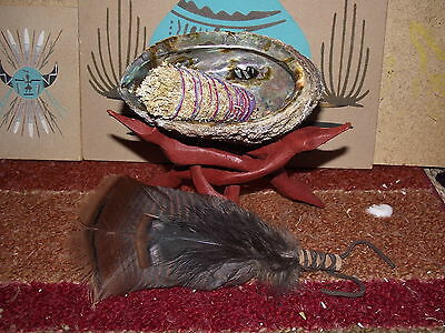 Abalone Shell Stand Feather Fan Sage Smudge Kit Shaman Smudging House Cleansing