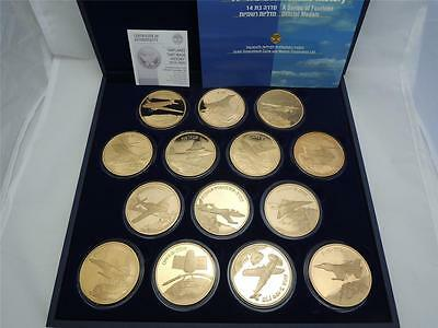 """ISRAEL """"AIRPLANES THAT MADE HISTORY"""" by E. WEISHOFF 14 MEDALS 50mm BRONZE"""