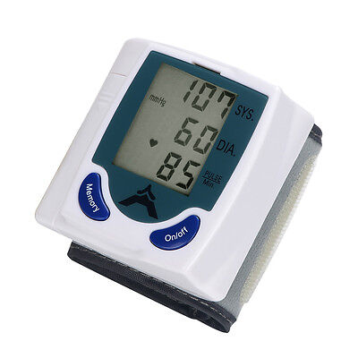 New 60 Memory Storage Wrist Cuff LCD Digital Blood Pressure Pulse Monitor Y-30