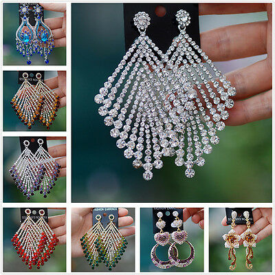 Crystal rhinestone drop dangle stud earrings Luxury statement topshop chandelier