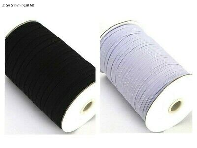 Elastic 4 Cord Flat, 3Mm Wide, Available In Black Or White & Different Lengths