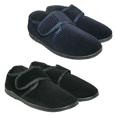 Mens Navy/Black Easy Touch Close Strap Wide Fit Shoe Slipper In Sizes 6-14