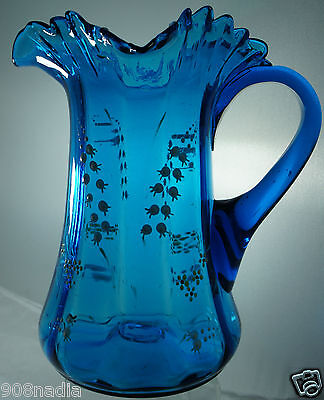Antique Vintage Moser ? Victorian Blue/Teal Art Glass Pitcher Enamel Lily Flower