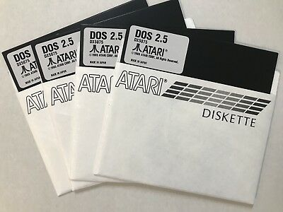 Disk Atari DOS 2.5 Double Density(DD) 4 each Master 5 1/4 disks 800/XL/XE New