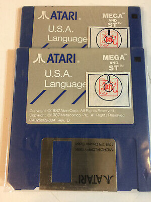 "3 each Disk 3 1/2"" Atari ST/Mega Language Disk SS Grey New"
