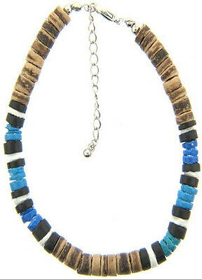 6x Blue Puka Shell Bead ANKLETS with Brown Coco Beads - Wholesale Jewelry - NEW!