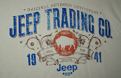 Vintage Jeep Trading Co. Outfitters Since 1941 khaki T-Shirt New NOS Sz Small