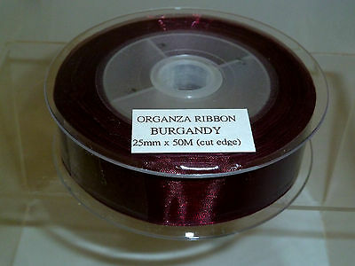 BURGUNDY Organza Ribbon 25mm wide x 50 metres Long - Cut Edge