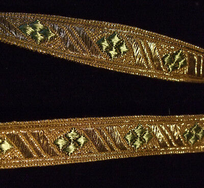 Precious Antique Vintage Gold Metallic Ribbon Trim with Green Diamonds
