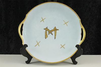 Vintage China Austria Hand Painted Shriner Two Handled Cake Plate 1916