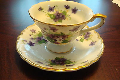 Norcrest Japan, footed Cup and Saucer, decorated with violets bouquets