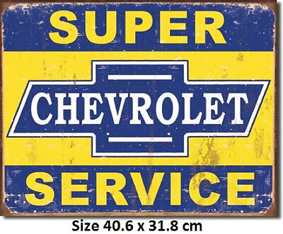 Chevrolet Super Service Rustic Tin Sign 1355 Twice the size of Chinese Fakes