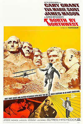 """NORTH BY NORTHWEST"" ..Cary Grant Hitchcocks Classic Movie Poster A1A2A3A4Sizes"