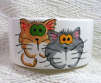 Goofy Cats Duo Medium Cat Bowl 20 Oz Ceramic Dishwasher Safe by Grace M. Smith