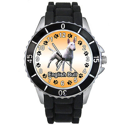 English Bull Terrier Dog Mens Ladies Black Jelly Silicone Band Wrist Watch S647E