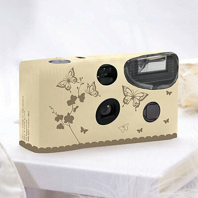 12 Single Use Butterfly Garden Wedding Party Disposable Cameras Ivory/Gold