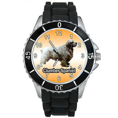 Clumber Spaniel Dog Mens Ladies Casual Black Silicone Strap Wrist Watch S810E
