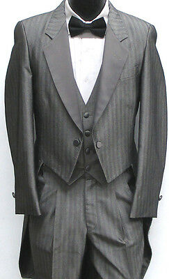 Shiny Silver/Grey Striped Tuxedo Tailcoat Prom Costume Retro Vintage 40XL