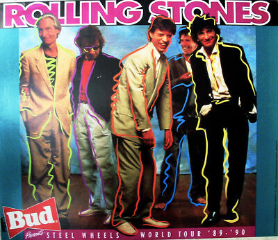 ROLLING STONES Steel Wheels Concert Tour 89-90 POSTER -  Budweiser Beer Ad MINT