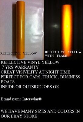 "12"" x 5 ft  YELLOW  Reflective Vinyl Adhesive Cutter Sign Hight Reflectivity"
