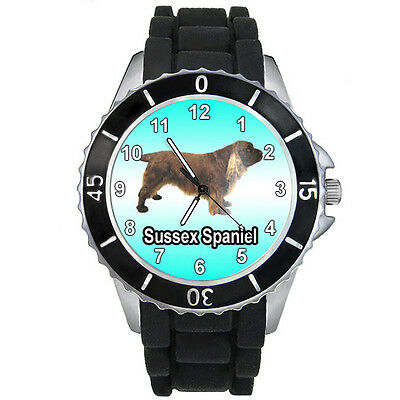 Sussex Spaniel Dog Mens Ladies Black Jelly Silicone Quartz Wrist Watch S697E