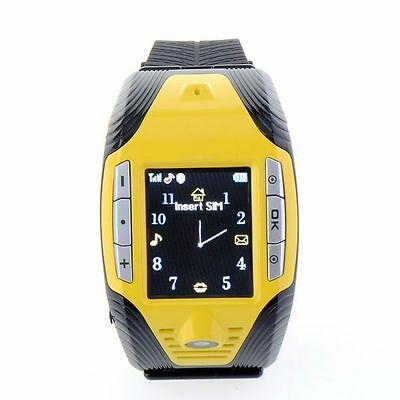 F3 Cell Phone GSM Mobile Touch Screen Wrist Watch Camera MP3 Mp4 Player Yellow