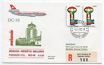 1980 Nation Unies Swissair Dc-10 Volo Zurich-Geneve-Beijing C/1558
