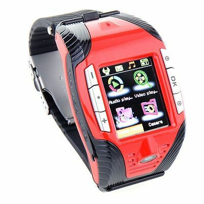 F3 Cell Phone GSM Mobile Wrist Watch Camera Bluetooth MP3 Mp4 Player Sports Red