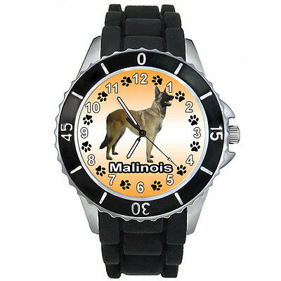 Malinois Belgian Shepherd Dog Black Silicone Strap Mens Ladies Wrist Watch S748E