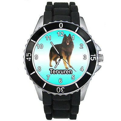 Tervuren Belgian Shepherd Dog Black Silicone Band Mens Ladies Wrist Watch S733E