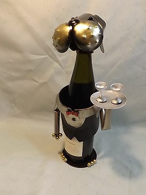 Wine bottle holder - Novelty Metal Dog Waiter Bar/kitchen ornament or Gift