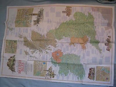 VINTAGE TRAVELER'S MAP OF THE BRITISH ISLES National Geographic April 1974 MINT