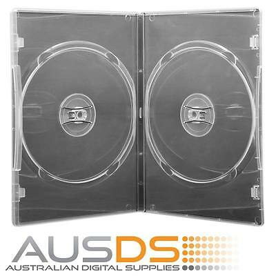 10 X CD / DVD Cases clear double 7mm spine slimline - Holds 2 Discs