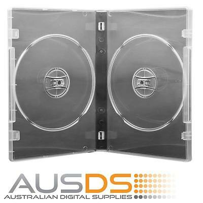 25 X CD / DVD Cases double clear 14mm spine - Holds 2 Discs