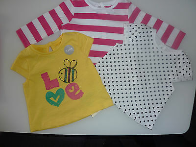 3 Really Cute Little Girls Summer Tops NWT