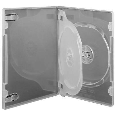 10 X CD / DVD Cases clear triple 14mm spine - Holds 3 Discs